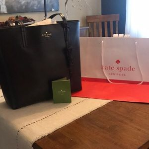 Kate Spade Black Leather Tote with Bow Charm
